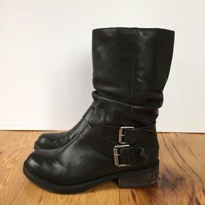 Matisse Bobby Moto Mid Calf Boot Black Leather